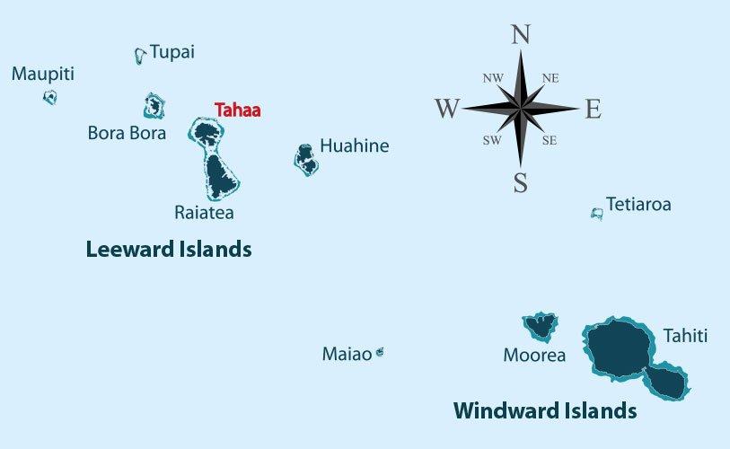 Carte des îles du vent et des îles sous le vent